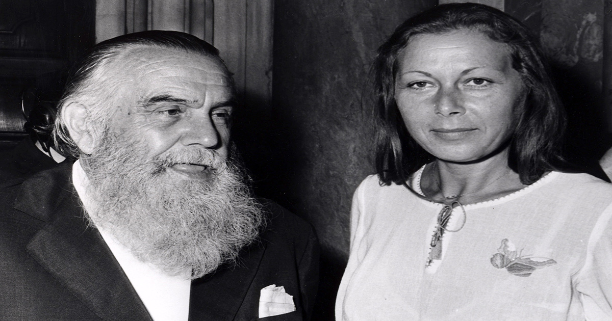 Edith Bruck, nel 1974, con lo scrittore Achille Campanile
